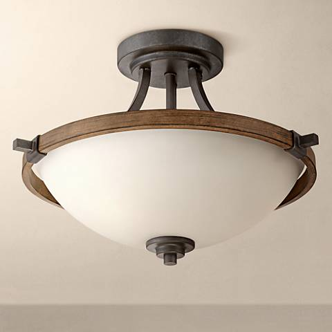 "Ranger 16"" Wide Faux Wood and Bronze Ceiling Light"