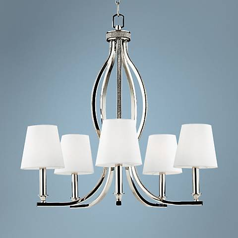 "Feiss Pave 25 1/4""W Polished Nickel 5-Light Chandelier"