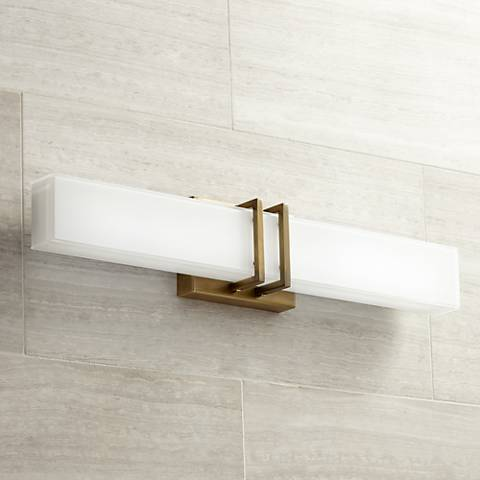 "Possini Euro Exeter 24"" Wide LED Antique Gold Bath Light"