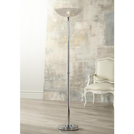 Possini Euro Glitz Crystal and Chrome Torchiere