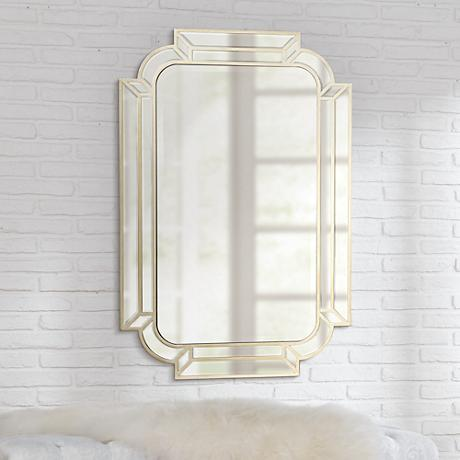 "Esbon Double Crown Champagne 25""x38"" Wall Mirror"