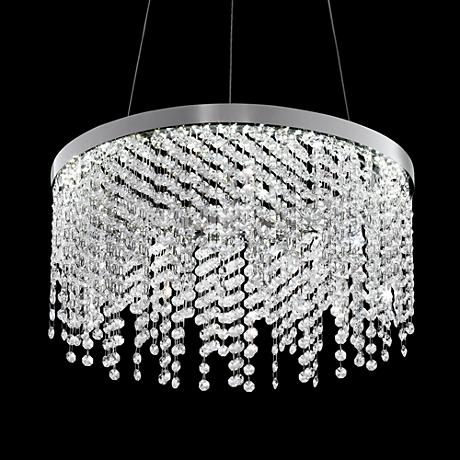 "Merania 17 1/2""  Wide LED Crystal Bead Ring Pendant Light"