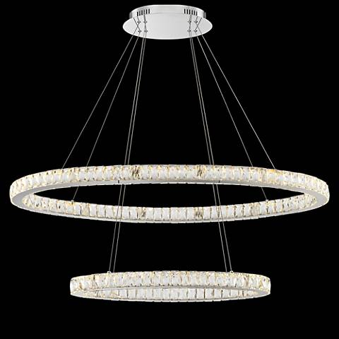 "Wainwright LED 48""W Crystal Double-Ring Chrome Pendant Light"