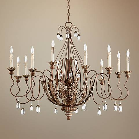 "Quorum Venice 40""W Vintage Copper 12-Light Chandelier"