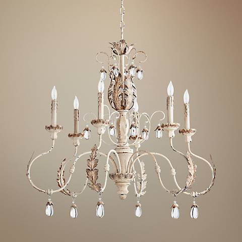 "Quorum Venice 32""W Persian White 6-Light Chandelier"