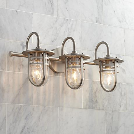 Kichler caparros 24 w 3 light brushed nickel bath light - 8 light bathroom fixture brushed nickel ...