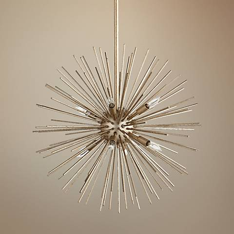 "Quorum Electra 23""W Silver Leaf 8-Light Pendant"