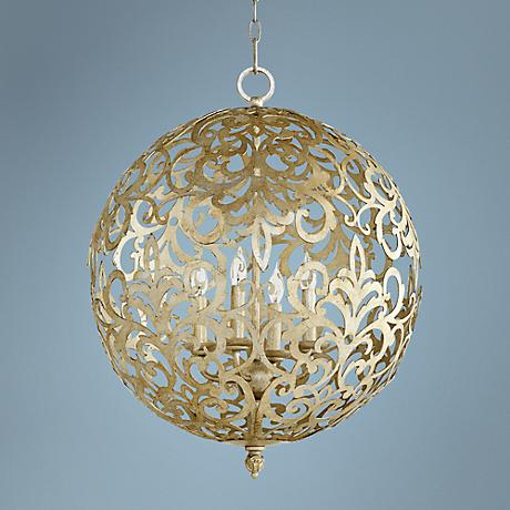"Quorum La Monde 20""W Silver Leaf 4-Light Pendant"