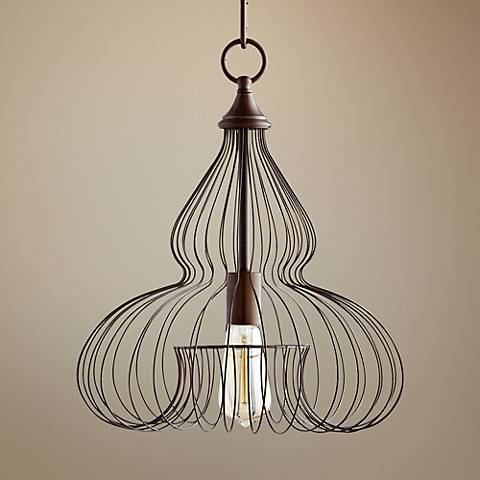 "Quorum Birdcage 13"" Wide Oiled Bronze Pendant Light"