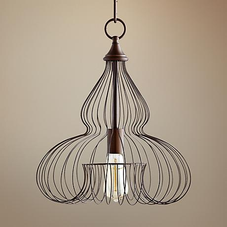 "Quorum Birdcage 16 1/4""W Oiled Bronze Pendant Light"