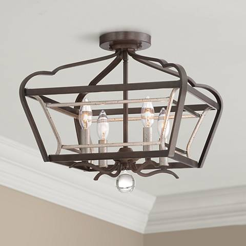"Astrapia 16""W Dark Rubbed Sienna 4-Light Ceiling Light"
