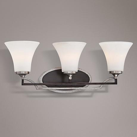 "Astrapia 23"" Wide Dark Rubbed Sienna 3-Light Bath Light"