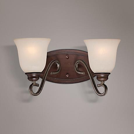 "Gwendolyn Place 15 1/4""W Rubbed Sienna 2-Light Bath Light"