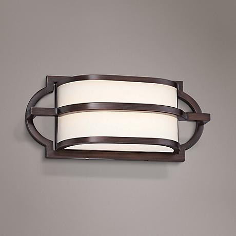 "Mission Grove 12"" Wide LED Dark Brushed Bronze Bath Light"