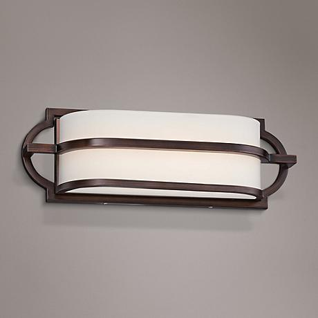 "Mission Grove 16"" Wide LED Dark Brushed Bronze Bath Light"