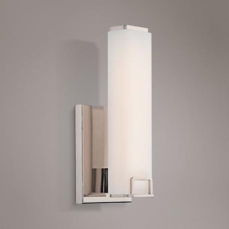 "Square 12 1/2"" High Opal Polished Nickel LED Wall Sconce"