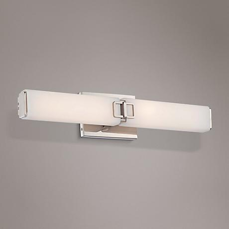 "Square 24 1/2"" Wide Opal Polished Nickel LED Bath Light"