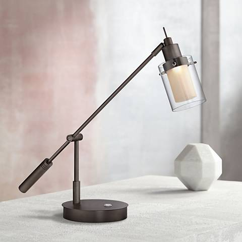George Kovacs Crawford Bronze Patina LED Desk Lamp