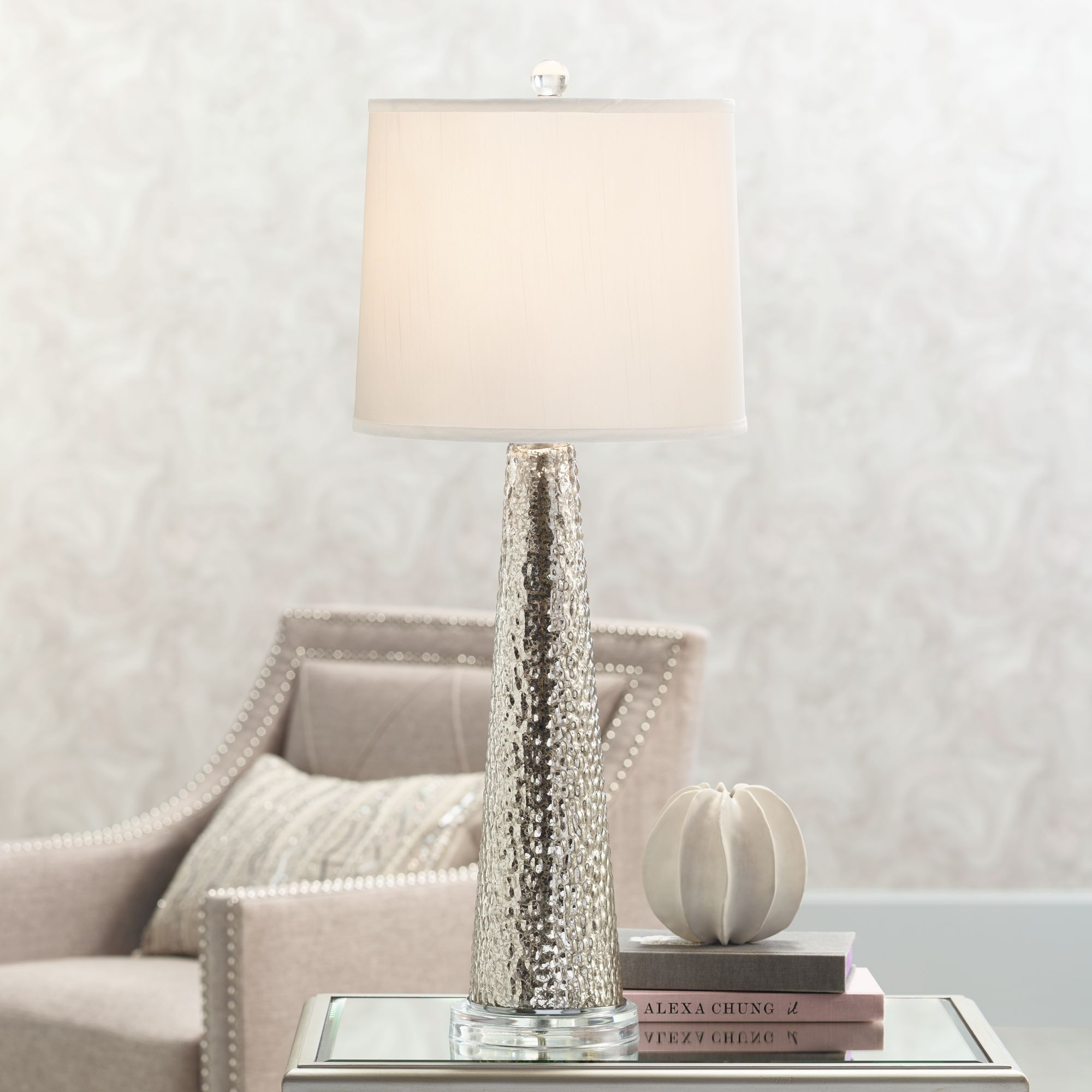 hobbes tapered mercury glass table lamp - Mercury Glass Table Lamp