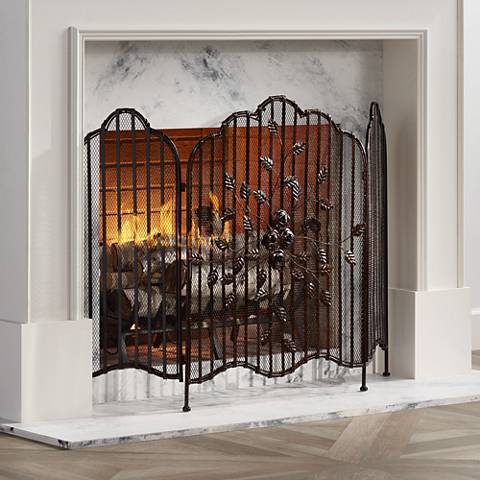 "Artemis 33 3/4"" High Bronze 3-Panel Fireplace Screen"