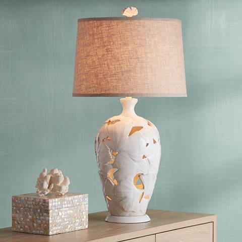 Ginkgo Leaf White Nightlight Ceramic Table Lamp