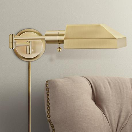 House of Troy Task Satin Brass Swing Arm Wall Lamp - #8M173 Lamps Plus