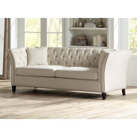 "Brianna Tufted Beige Linen 88 1 2"" Wide Upholstered Sofa"