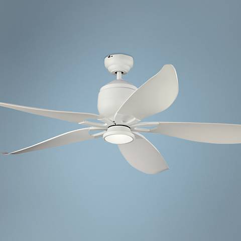 "56"" Lily Rubberized White Damp-Rated LED DC Ceiling Fan"