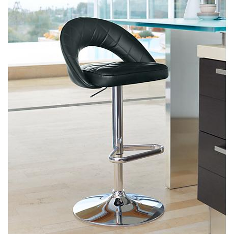 Illy Black Faux Leather Adjustable Barstool
