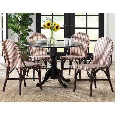 Morrow Red and White Weave Dining Side Chair Set of 2