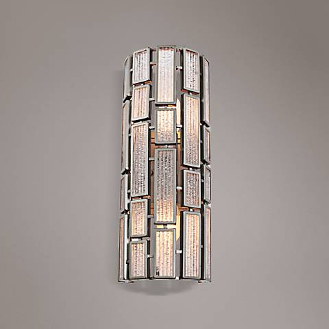 "Varaluz Harlowe New Bronze 18 1/4""H Ice Glass Wall Sconce"