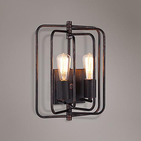 "Lewis 13"" High Dark Bronze Square 2-Light Wall Sconce"