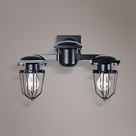 "Kingston 9"" High Open Cage Black 2-Light Wall Sconce"