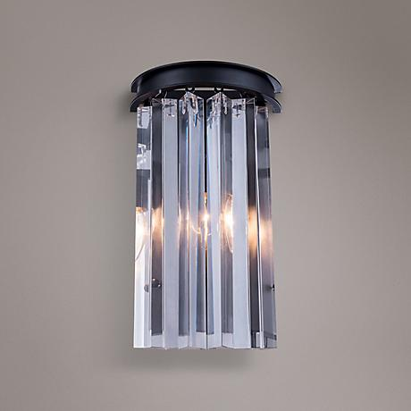 "Sydney 14"" High Mocha Brown Wall Sconce with Clear Crystal"