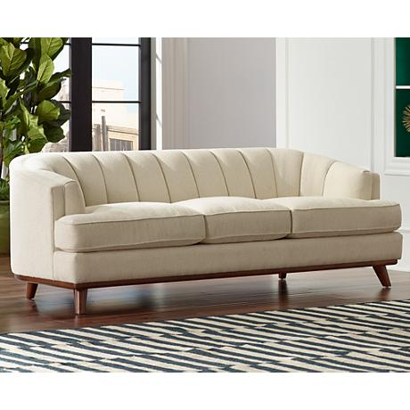 Christen Bard Mid-Century Style Cream Fabric Sofa