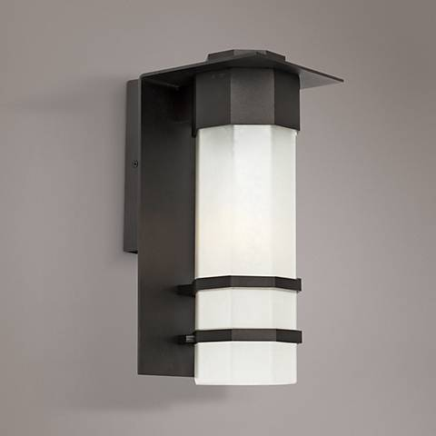 "Artcraft Bedford 15""H Black LED Outdoor Wall Light"