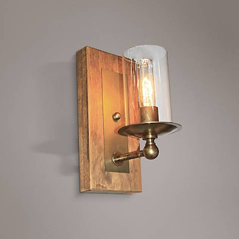 "Artcraft Legno Rustico 12"" High Light Pine Wall Sconce"