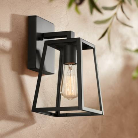 Arrington 10 1 2 high mystic black outdoor wall light 8m831 lamps plus for Contemporary exterior wall lights