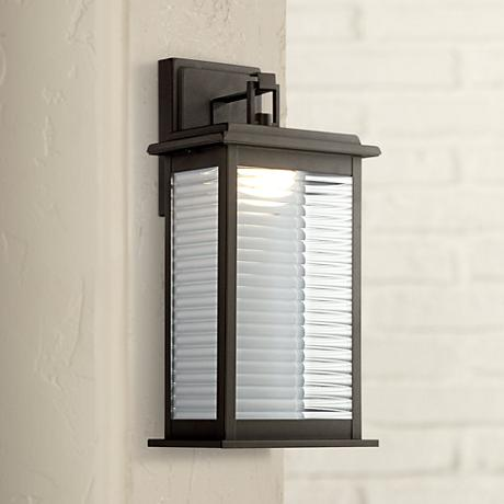 "Marguerite 14 3/4"" High Black LED Outdoor Wall Light"