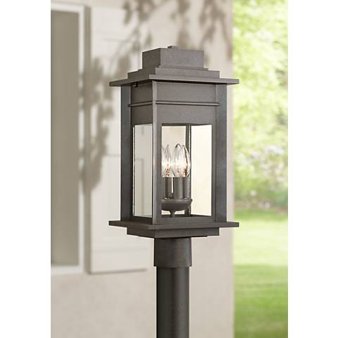 "Bransford 19 1/2""H Black-Speckled Gray Outdoor Post Light"