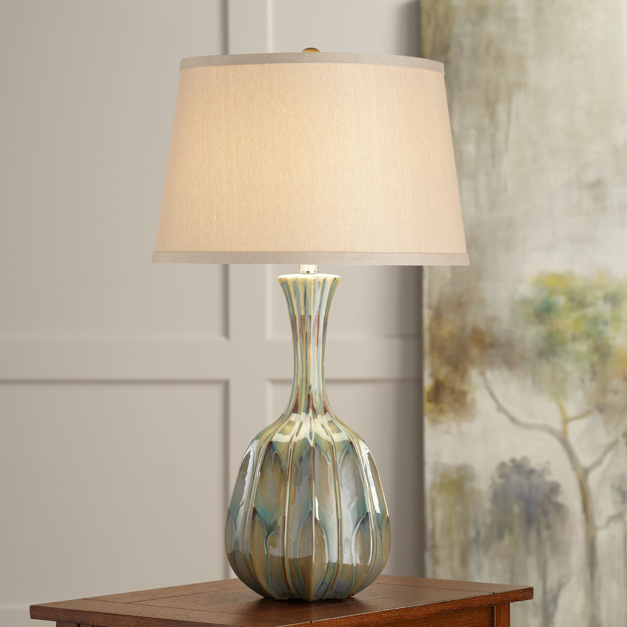 bella ribbed gourd ceramic table lamp