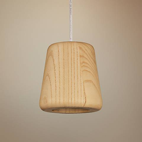 "Arhaus 5 1/2""W Natural Wood Empire Shade LED Mini Pendant"