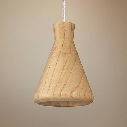 "ET2 Arhaus 5 1/2""W Natural Wood Cone Shade LED Mini Pendant"