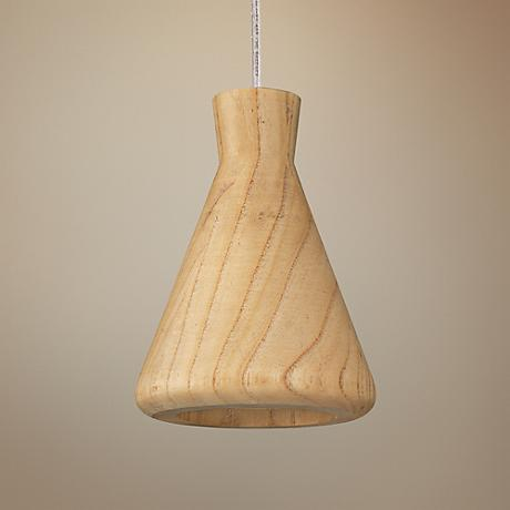 "ET2 Arhaus 5 1/2""W Natural Wood Cone Shade LED Pendant"