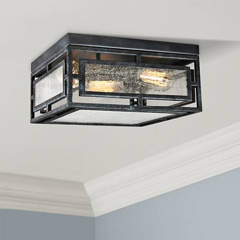 "Prairielands 12"" Wide Dark Weathered Zinc Ceiling Light"
