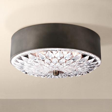"Feiss Botanic 16"" Wide Dark Aged Brass Ceiling Light"