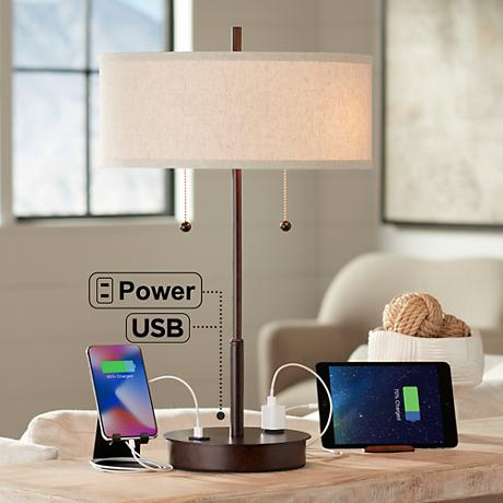 Nikola Bronze Metal Table Lamp With Usb Port 8n428
