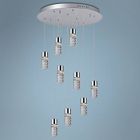 "ET2 Polka 23 1/2""W Clear Glass 9-Light LED Chrome Pendant"