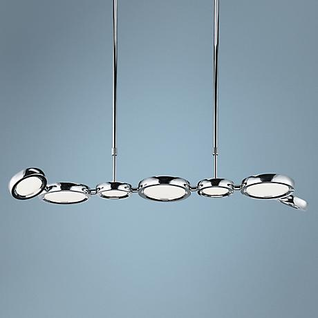 "ET2 Timbale 38"" Wide Chrome Linear 7-Light LED Pendant"