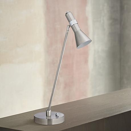 Nikko Brushed Steel Task LED Desk Lamp